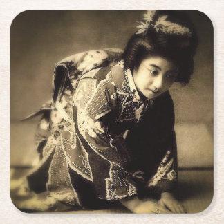 Vintage Bowing Geisha Sepia Toned お辞儀 Japanese Square Paper Coaster