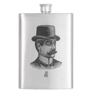 Vintage Bowler Hat Man with Monogram Hip Flask