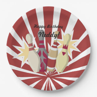 Vintage Bowling Themed Paper Plate