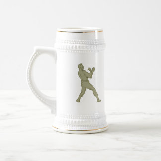 Vintage Boxer Fighting Stance Mono Line Beer Stein