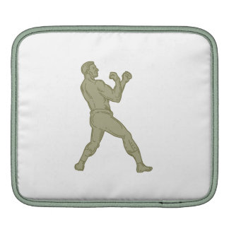 Vintage Boxer Fighting Stance Mono Line iPad Sleeve