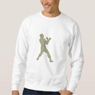 Vintage Boxer Fighting Stance Mono Line Sweatshirt