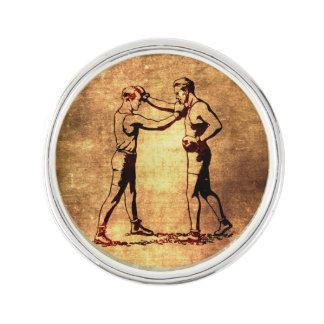 Vintage boxing men lapel pin