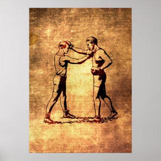 Vintage boxing men poster