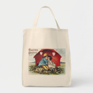 Vintage Boy and Girl Valentine Organic Tote Grocery Tote Bag