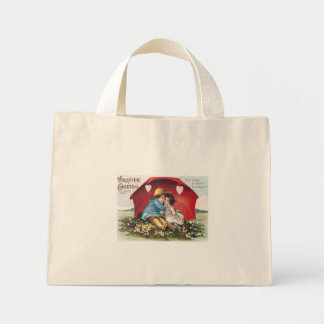 Vintage Boy and Girl Valentine Tiny Tote Mini Tote Bag