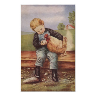 Vintage Boy and His Pet Chicken Poster