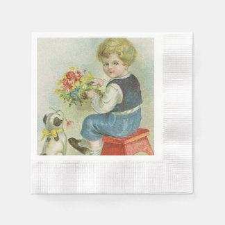 Vintage Boy and Puppy paper napkins