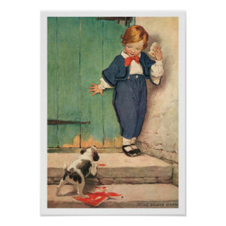 Vintage Boy and Puppy Poster