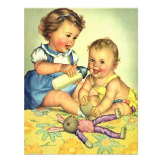 Vintage Boy Girl Happy Cute Toddler Child Birthday Custom Invitation