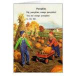 Vintage Boy & Girl with Pumpkins Greeting Cards