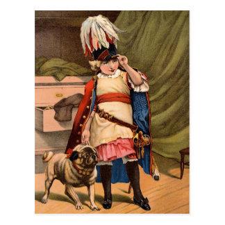 Vintage Boy In Military Uniform Postcard