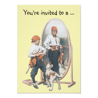 Vintage Boy Pirate with Dog, Child Birthday Party Card