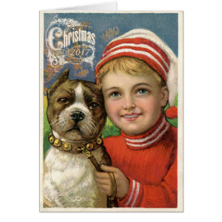 Vintage Boy & Pit Bull Dog Christmas Card