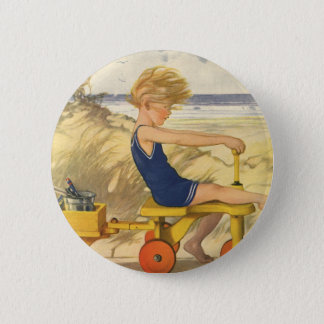 Vintage Boy Playing at the Beach with Sand Toys 2 Inch Round Button