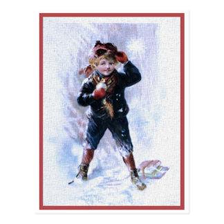 Vintage Boy Playing Snowballs Postcard