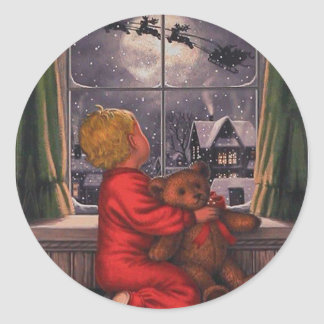 Vintage Boy Watching Santa Claus Fly Over Classic Round Sticker