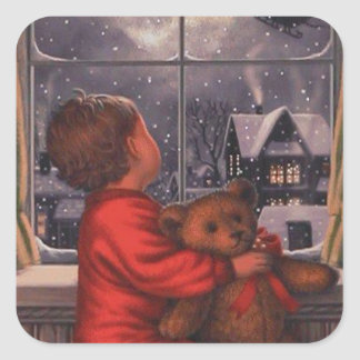 vintage boy watching Santa Claus Fly Over Square Sticker