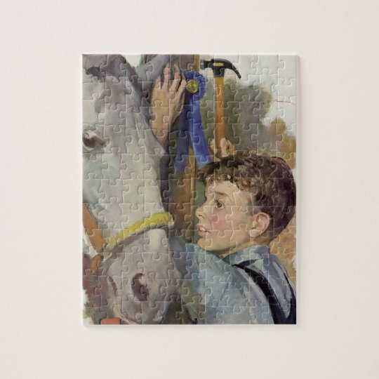 Vintage Boy with His Blue Ribbon Winning Horse Jigsaw Puzzle