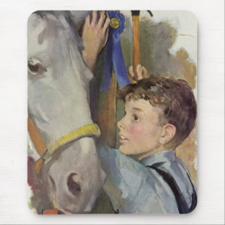 Vintage Boy with His Blue Ribbon Winning Horse Mouse Pad