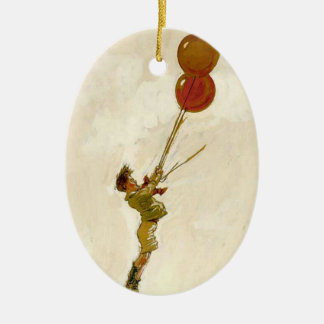 Vintage Boy with Red Balloons at a Birthday Party Ceramic Ornament