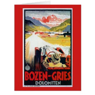 Vintage Bozen Gries Italian automobile travel ad Card