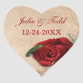 Vintage Brandy Rose Save The Date Heart Sticker
