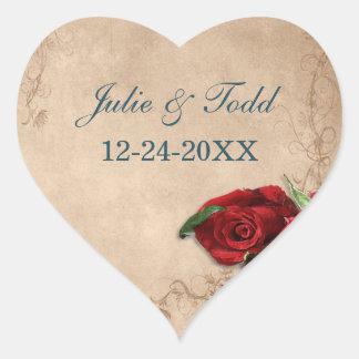 Vintage Brandy Rose Save The Date Wedding Heart Sticker