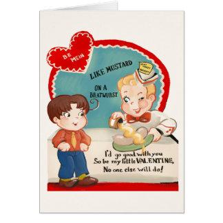 Vintage Bratwurst Sausage Valentine's Day Card