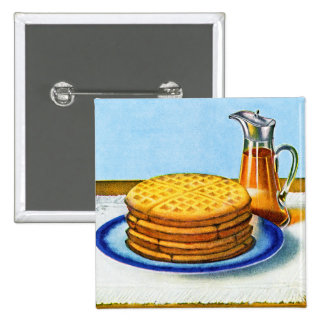 Vintage Breakfast Retro Waffles and Syrup 2 Inch Square Button