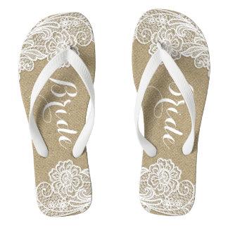 Vintage Bridal Country Rustic Burlap and Lace Flip Flops