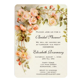 Vintage Bridal Shower Antique Roses Flowers Floral Card