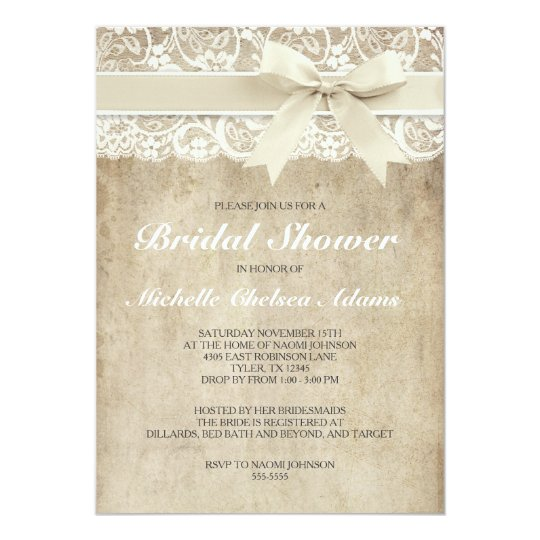 Vintage bridal shower invitation | antique lace