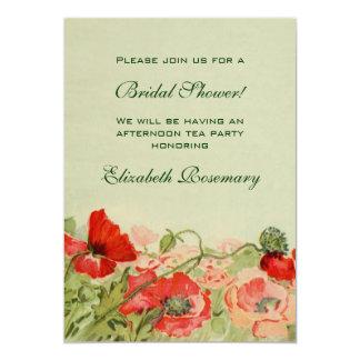 Vintage Bridal Shower, Red Poppy Flower Floral Card