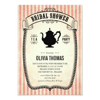 "Vintage Bridal Shower Tea Party Invitations 5"" X 7"" Invitation Card"