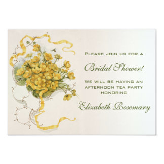 Vintage Bridal Shower Vintage Yellow Flower Floral Card