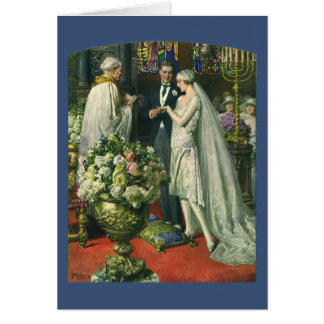 Vintage Bride and Groom, Church Wedding Ceremony Card