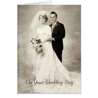 Vintage Bride and Groom, Congratulations Wedding Card