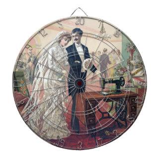 Vintage Bride And Groom Illustration Dartboard