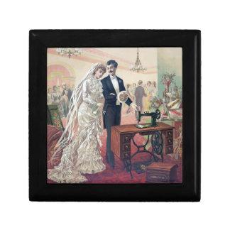 Vintage Bride And Groom Illustration Gift Box