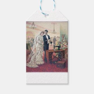 Vintage Bride And Groom Illustration Gift Tags