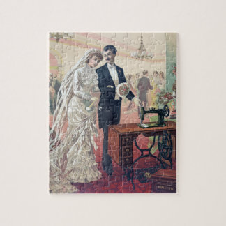 Vintage Bride And Groom Illustration Jigsaw Puzzle