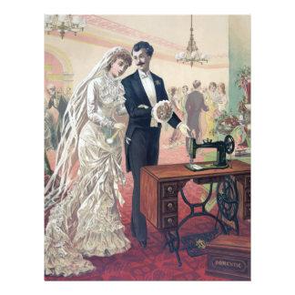 Vintage Bride And Groom Illustration Letterhead