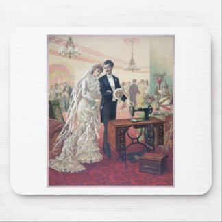 Vintage Bride And Groom Illustration Mouse Pad