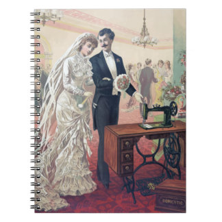Vintage Bride And Groom Illustration Notebooks