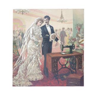 Vintage Bride And Groom Illustration Notepad