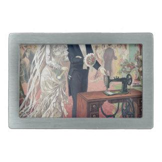 Vintage Bride And Groom Illustration Rectangular Belt Buckles