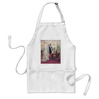 Vintage Bride And Groom Illustration Standard Apron
