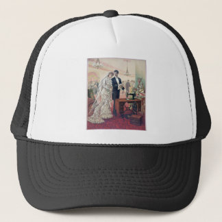 Vintage Bride And Groom Illustration Trucker Hat
