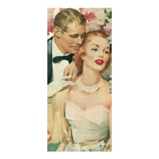 Vintage Bride and Groom Newlyweds and Flowers Full Colour Rack Card